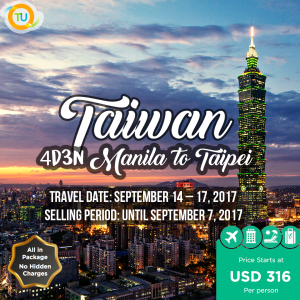 "TAIWAN ""The Heart of Asia"" ALL IN PACKAGE❗ ✈️Flight + Hotel + Tours Package Inclusions: ✔️Roundtrip Airfare (via Airasia) Flight details Z2-128 MNL(23:15) - Z2-129 TPE(01:45) ✔️Roundtrip airport transfers on private basis with driver only (In & Out TPE only) ✔️20 kg Baggage Allowance ✔️PH Travel Tax ✔️4D3N Hotel Accommodation ✔️Daily Hotel Breakfast ✔️SIC Half-day Taipei City Tour Package Exclusions: Any visa (if required) Tipping for the guide & driver Peak Season Surcharges Anything that is not specifically mentioned in the INCLUSIONS is on pax account Any kind of personal expenses or Optional tours/extra meals ordered by the guests Should you have any clarification or need additional details on the above, please do not hesitate to contact us through our details below: Landline: 8336188 Mobile: 09998838112 Email: info@travelunlimitedonline.com"